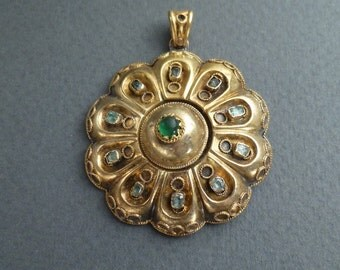 14K gold and emeralds Etruscan Revival pendant