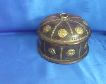 Round Lidded Wooden Box with Brass Embellishments