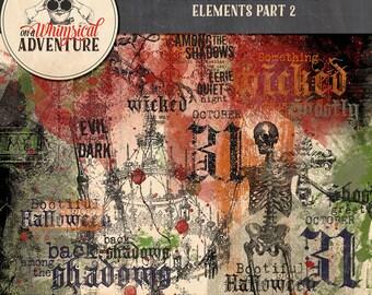 Halloween digital scrapbooking, digital download, scrapbook elements, vintage Halloween, paint, glitter, stamps, art journaling, card making