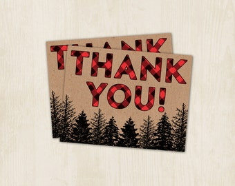 Lumberjack Party - Thank You Card - Wilderness - Red - Plaid - Lumber Jack Thank You - 4.25x5.50 - Digital/Printable File