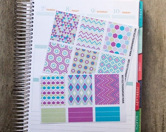 9 full box sticker, square sticker, planner stickers, scrapbook reminder, geometric abstract notebook agenda journal