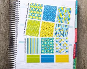 9 full box sticker, square sticker, planner stickers, geometric abstract notebook agenda journal eclp filofax happy planner kikkik