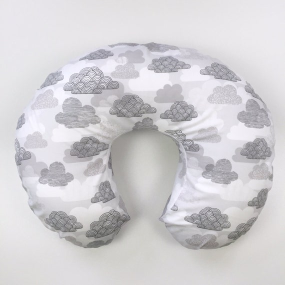 Boppy Cover >> Passing Clouds in Gray >> READY-to-SHIP nursing pillow, grey boppy, cloud boppy, sky boppy, gender neutral boppy, MIX