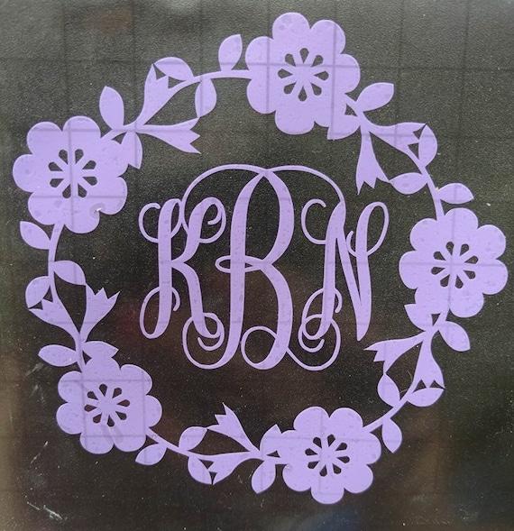 monogrammed car decal car decal cute monogram flower