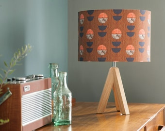 Geometric, graphic floral lampshade, coral, wood effect, blue, mid-century feel, 15cm or 30cm diameter