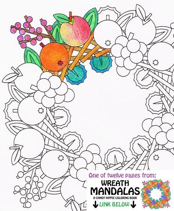 Mandala Coloring Page Fruit Wreath printable wreath