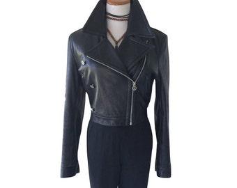 Rare Vintage Calvin Klein Jeans Black Leather Moto Jacket