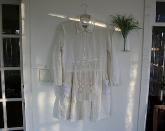 Vintage Inspired Altered Couture Linen Tunic / by Breathe-Again Clothing