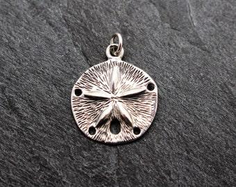 Sand Dollar Charm / Pendant -  Sterling Silver