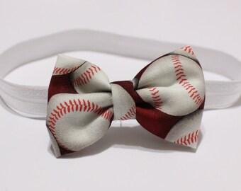 Baseball themed hair bow- baby- toddler- child elastic headband or hairclip baseball