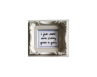I Just Want Some F*cking Peace and Quiet framed cross stitch