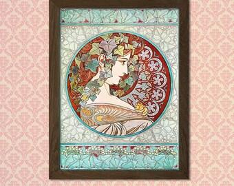 "Alphonse Mucha Poster Art Nouveau Print ""Ivy"" 1901 - Alphonse Mucha Print Art Nouveau Poster Mucha  t"