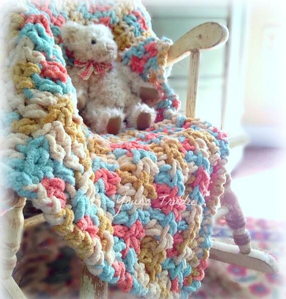 Crochet Chenille Baby Blanket Pattern : Baby Blanket Crochet Baby Blanket Knit Baby Girl Blanket