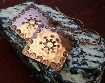 Sun Goddess Copper Earrings