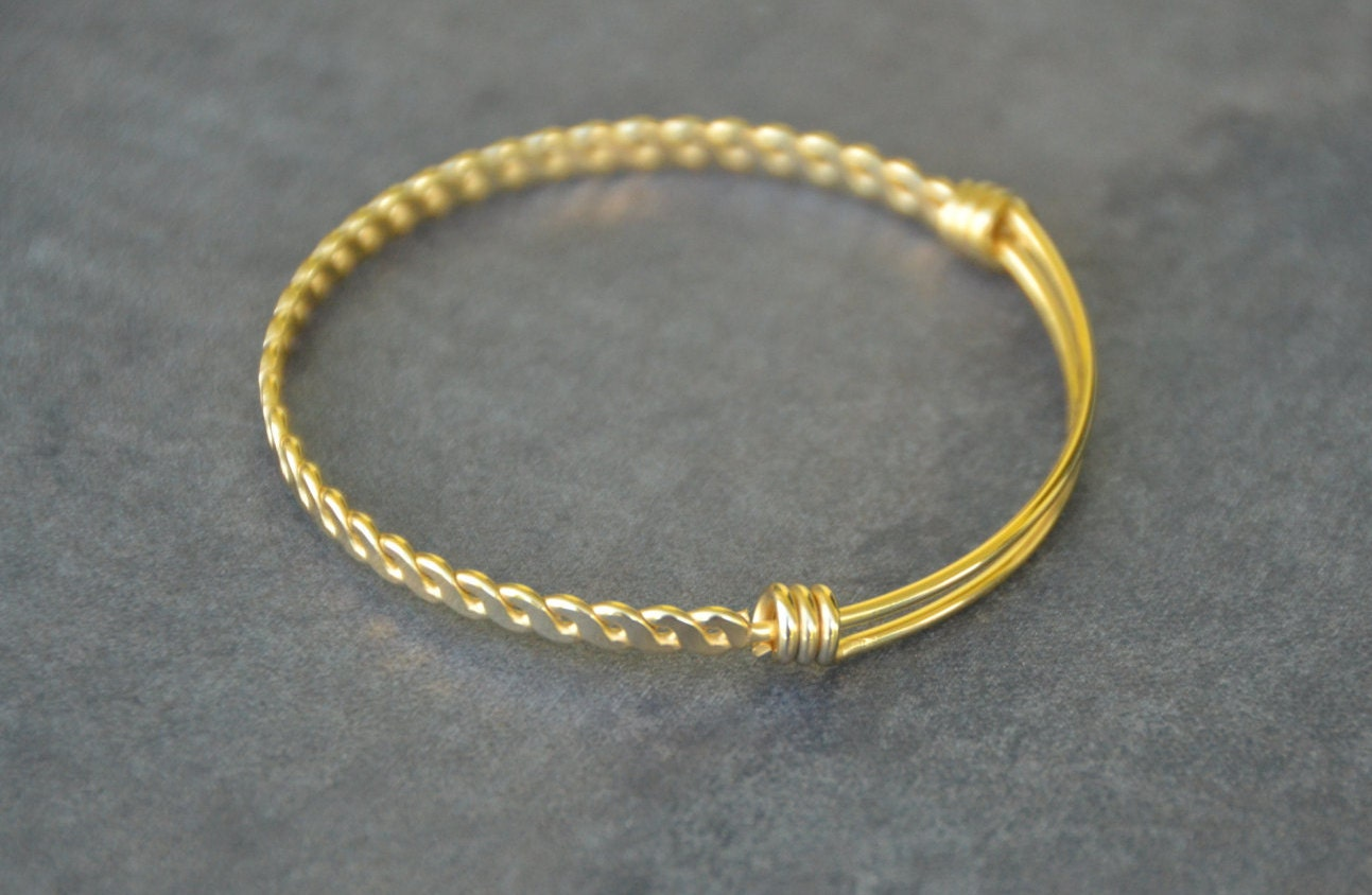 gold stainless steel expandable bangle bracelet twisted
