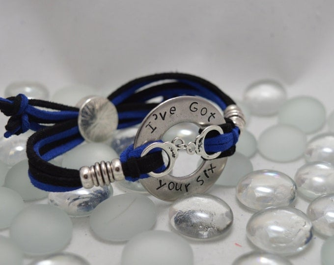 I've Got Your Six, Hand Stamped Washer Bracelet