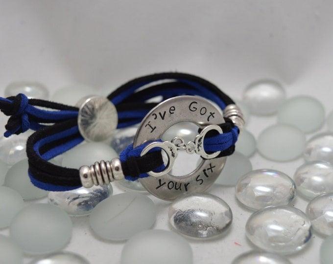 I've Got Your Six, Hand Stamped Washer Bracelet