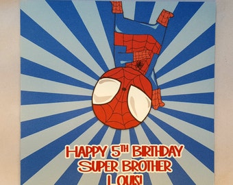 Personalised Superhero Childrens Birthday Card-Spiderman