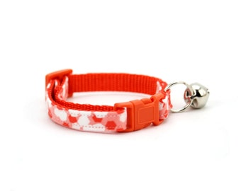 Orange Cat Collar Modern Scattered Dot Reflection Watermelon Red Cat Collar with Breakaway Safety Buckle and Bell