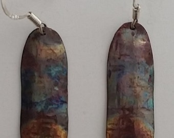 Heat colored, hammer texture, copper earrings, with, sterling silver, hook