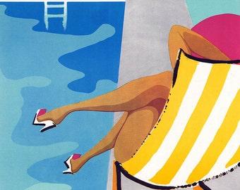 Vintage Ad Poster Piscina di Sarteano Bar Restorante Canvas Gallery Wrap Giclee