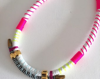 Chunky rope necklace with neon accents and chevron pattern