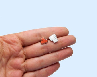 Poop and Toilet Paper Stud Earrings Funny earrings