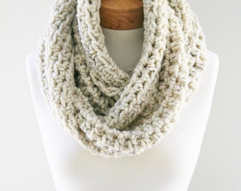 Crocheted Chunky Infinity, Wool-blend Scarf, Cream Scarf, Handmade Scarf, Knitted Scarf, Winter Scarf