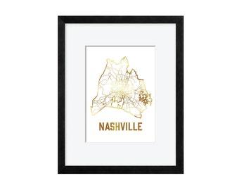 Nashville, Tennessee - Gold Foil Map