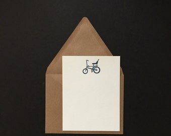 5 pk - Banana Bicycle Notecards & Envelopes - Letterpress Flat
