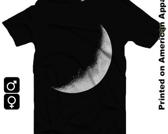 Crescent Moon American Apparel Men/Women T-shirt S-XXL - Lunar, Space, Eclipse, Planets, Physics, Astronomy,  Cool Gift!