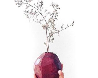 Wood Bud Vase - Purpleheart Hardwood - No Stain Used - Geometric Flower Bud Vase