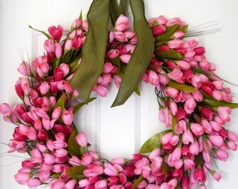 Pink Tulip Wreath | Front Door Wreath | Spring Wreath | Summer Wreath | Wedding Wreath | Baby Shower Girl | Housewarming Gift
