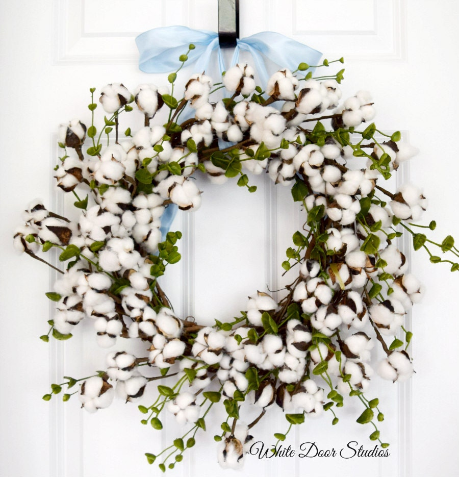 Cotton Boll Wreath With Greenery Front Door Wreath