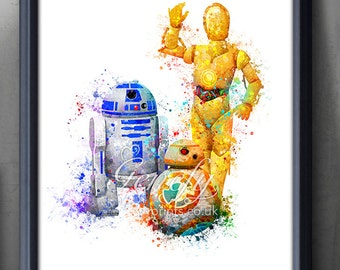 Star Wars R2-D2, BB-8, C-3PO Watercolor Art Poster Print - Wall Decor -  Watercolor Painting - Home Decor - Kids Decor - Nursery Decor