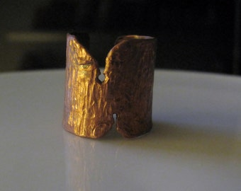 copper ring, adjustable, unique, handmade, the bark of a tree and first layer that comes off, changing season