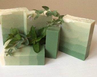 SPEARMINT AND EUCALYPTUS Goat Milk Soap...A refreshing uplifting aroma, creamy bubbly lather, moisturizing, with cocoa butter and shea