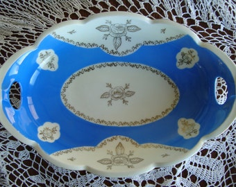 Antique RS Silesia Porcelain Decorative Two Handled Serving Bowl - Blue and White with Gold Floral Trim