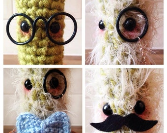 Create-a-Cactus - STEP TWO! Accessories for Create-a-Cactus! Crochet Cactus! Amigurumi Cactus! Glasses, monocle, moustache, bow tie!
