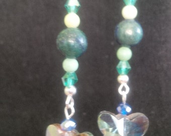 Lapis Chrysocolla Butterfly Dangles with Tulip Jewelry Pouch