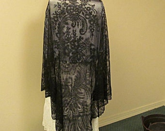 Black Chantilly Lace Shawl, Very Large Triangle, Intricate and Beautiful, with Provenance