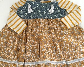 Fall print girls knot top with swing bottom   -pumpkins  -stripes - gray -mustard yellow  -polka dot  -Matilda Jane