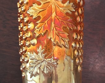 Antique Northwood Carnival Art Glass~Grape and Cable Hatpin Holder~Magnificent Marigold