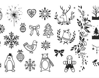Nail Stamping Plate 011 Winter Cute