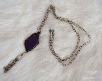 purple soldered stone on silver chain necklace with silver chain tassels