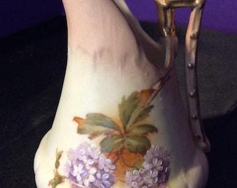 Porcelain Gold Trimmed Floral Pitcher