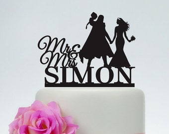 Thor and Bride Cake Topper, Wedding Cake Topper,Mr and Mrs Cake Topper With Surname,Custom Cake Topper, Super Hero Cake Topper  C156