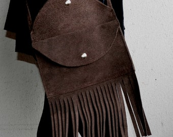 Brown Suede Bag, Brown Suede Handbag, Suede Bag with Fringe, Handbag with Fringe, Suede Fringe Bag, Brown Fringe Bag, Suede Crossbody Bag