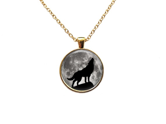 howling wolf necklace moon pendant astronomy jewelry
