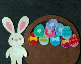 Easter Bunny  Basket and Eggs Felt Set // Flannel Board // Imagination // Holiday // Easter // Spring // Eggs in a Basket